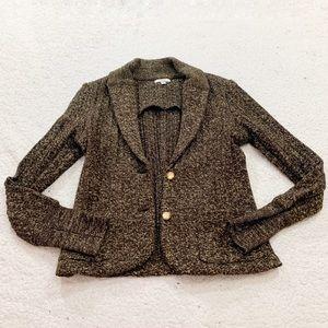 Cache gold collar 2 button jacket metallic wool